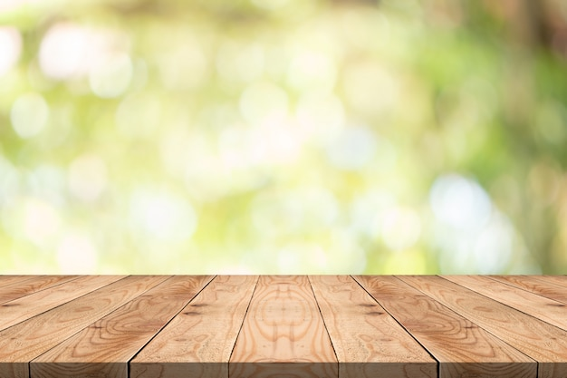 Empty wood table on blurred copy space