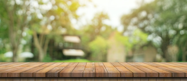 Empty wood table and defocused