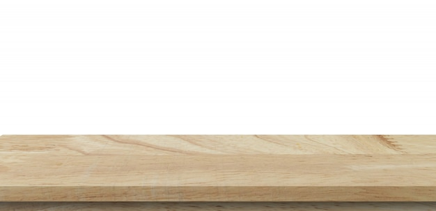 Empty wood table on isolate white background and display montage with  copyspace for product.