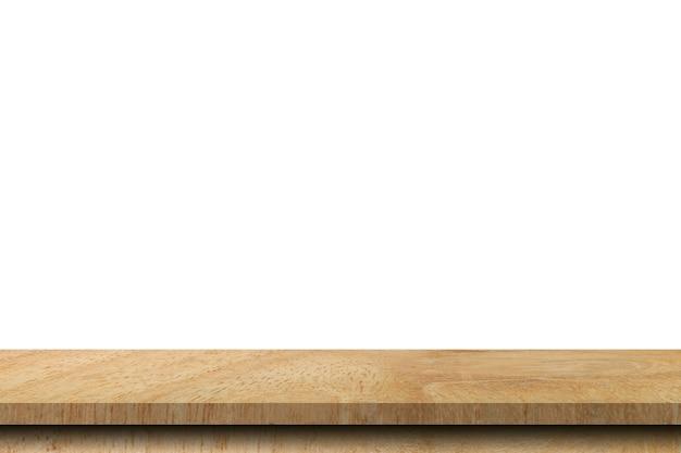 白い背景で隔離空の木製テーブル