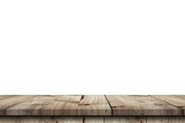 Пустой деревянный стол на изолированном белом фоне и монтаж дисплея с копией пространства для продукта.