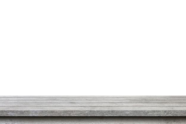 Пустой деревянный стол на изолированном белом