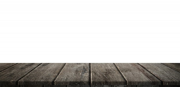 Empty wood table panorama on isolate white background and display montage with copyspace for product.