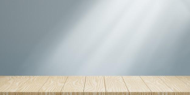 Пустая деревянная столешница и освещающая серая стена для абстрактного фона макета баннера. 3d визуализация иллюстрации.