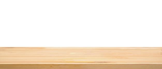 白い背景で隔離空の木のテーブルトップ