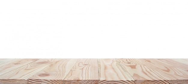 Empty wood table top isolated on white background with clipping path and copyspace for display or montage your products