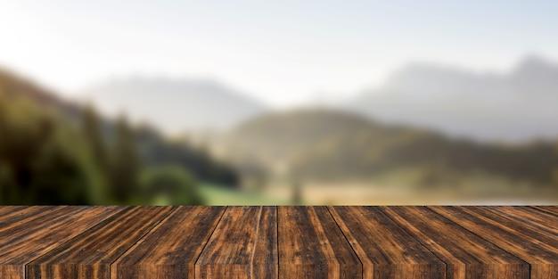 산만 된 배경으로 가기 빈 나무 테이블