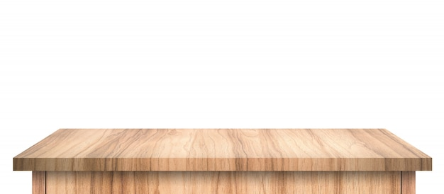 Empty wood table with abstract pattern isolated on pure white