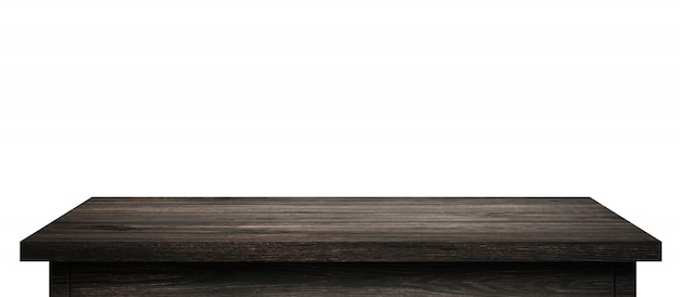 Empty wood table with black wood planks isolated on pure white