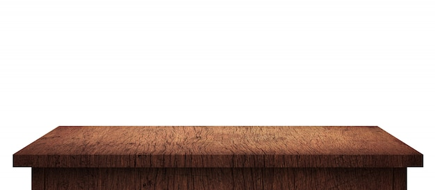 Empty wood table with brown pattern isolated on pure white