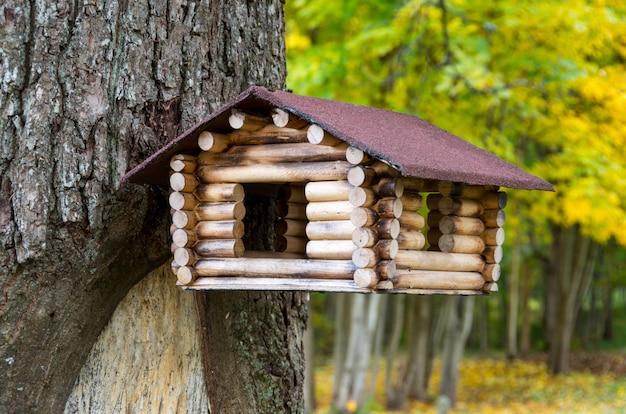 Empty wooden bird feeder on the tree