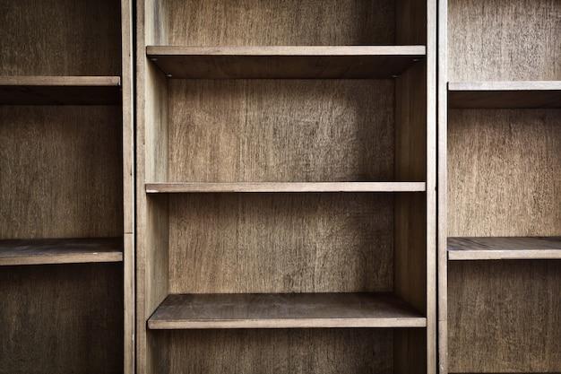 空の木製の本棚または収納ラックモダンなレトロなデザイン