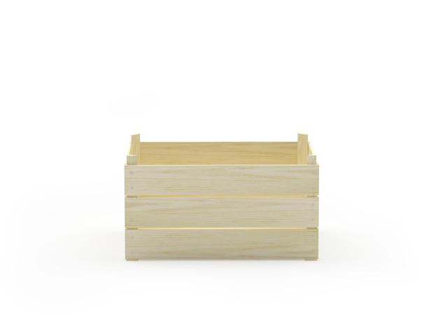 Пустой деревянный ящик на белом