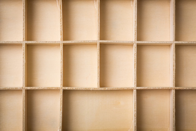 Empty wooden box with compartments
