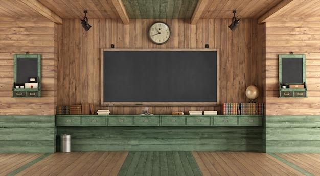 Пустой деревянный класс в стиле ретро