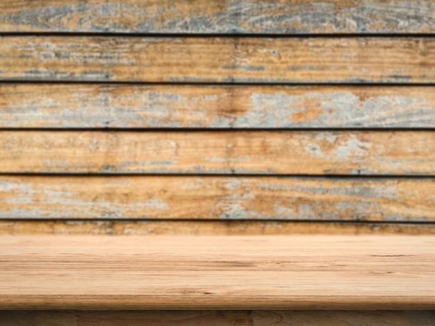 グランジ木製の背景を持つ空の木製カウンタートップ