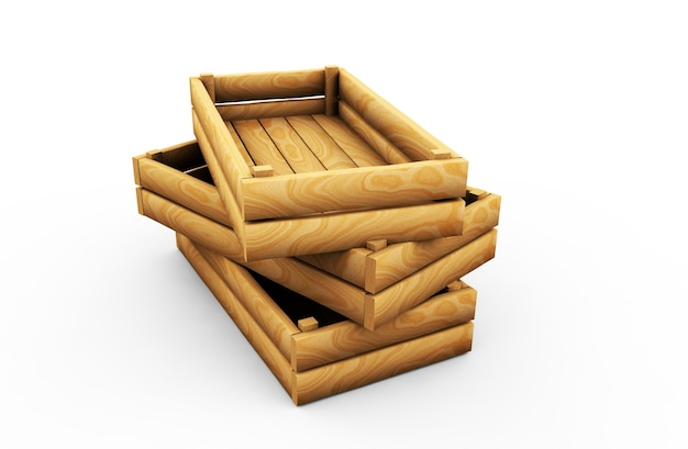 Пустой деревянный ящик. изолированные 3d-рендеринга