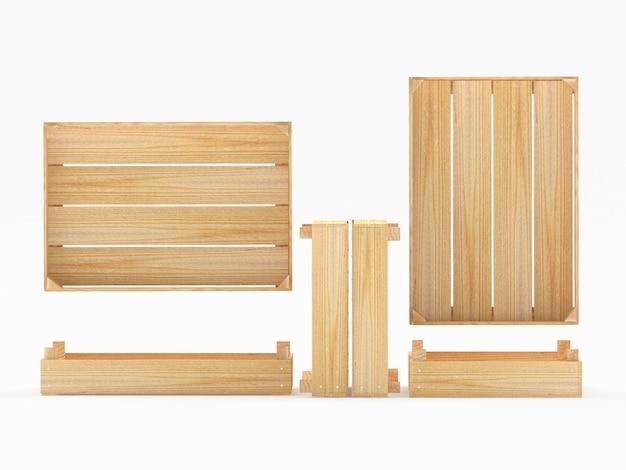 Пустые деревянные ящики в разных положениях, изолированные на белом фоне