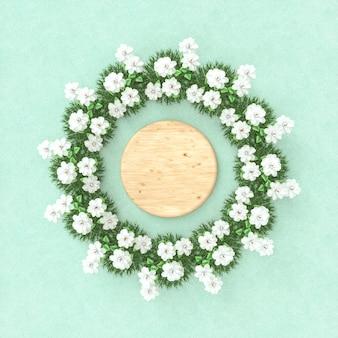春の花フレームと空の木製シリンダー。フラットレイ。上面図。万華鏡のパターン。