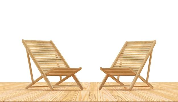 Пустые деревянные шезлонги