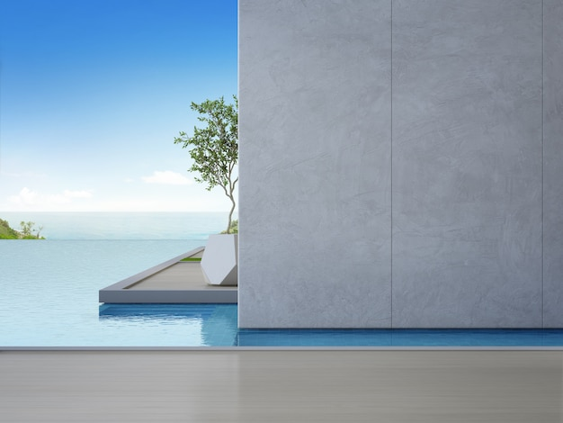 Empty wooden floor with concrete wall in luxury beach house.