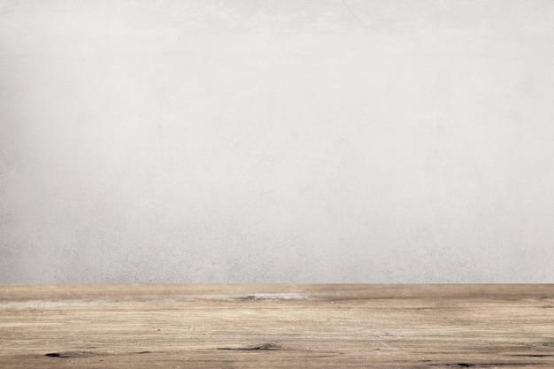 灰色の壁と空の木の床