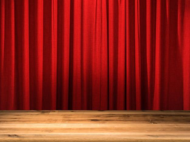 Пустой деревянный пол с фоном красный занавес