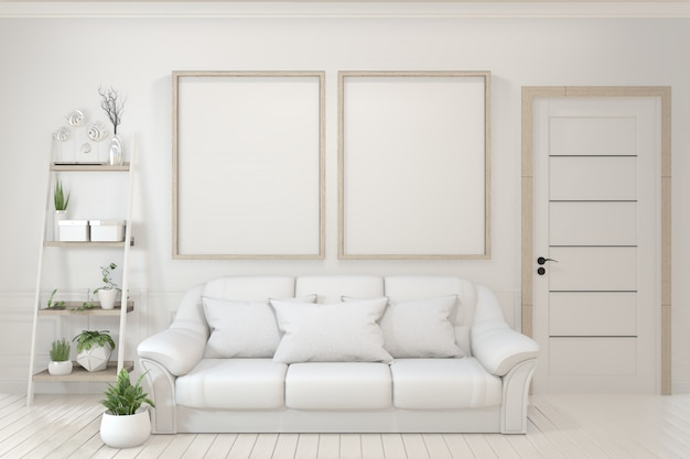 Empty wooden frame, sofa, plant and lamp in empty room with white wall.