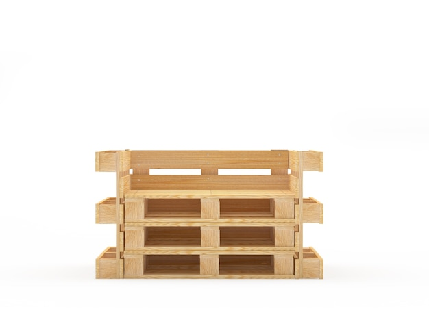 Пустой деревянный стул из поддонов на белом