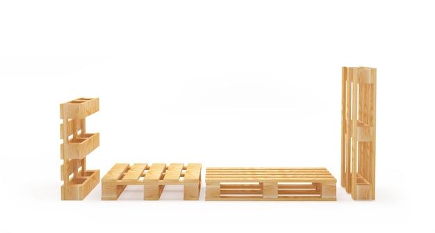 Пустые деревянные поддоны под разными углами