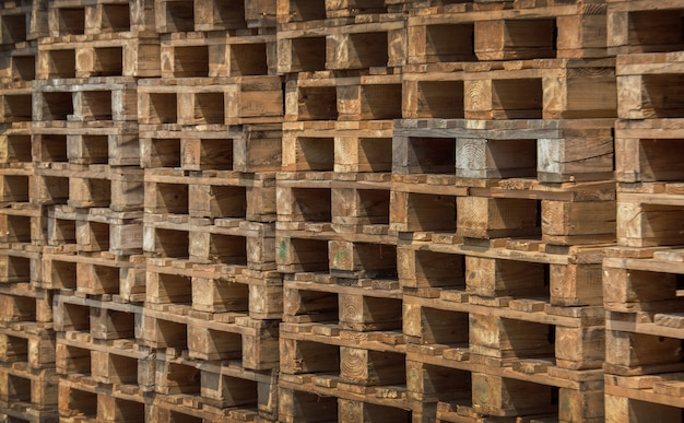 Empty wooden pallets in the warehouse