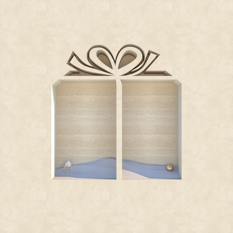 Empty wooden podium backdrop with christmas decoration shape