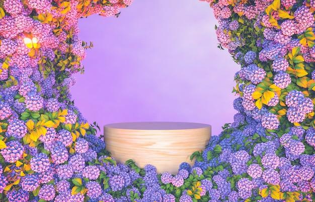 Empty wooden podium backdrop with hydrangea flower background.