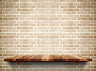 Empty wooden shelf on grunge brick