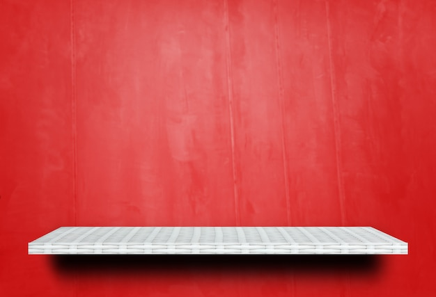Empty wooden shelf on red wooden background for product display