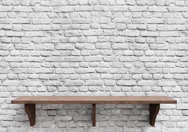 Пустые деревянные полки белый кирпич, изолированная столешница макета дисплея.