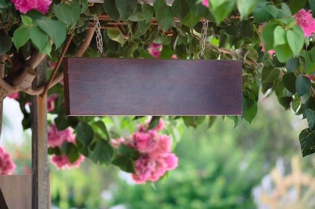 Empty wooden sign board outside