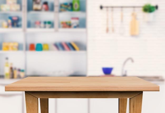 Пустой деревянный стол на фоне кухни