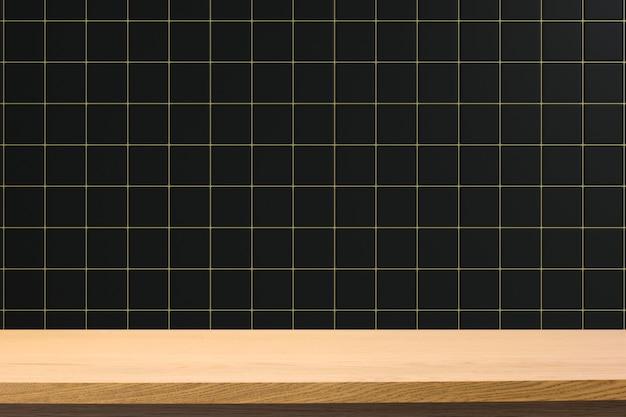 Пустой деревянный стол на фоне квадратной керамической плитки. может использоваться для демонстрации или монтажа вашего продукта.