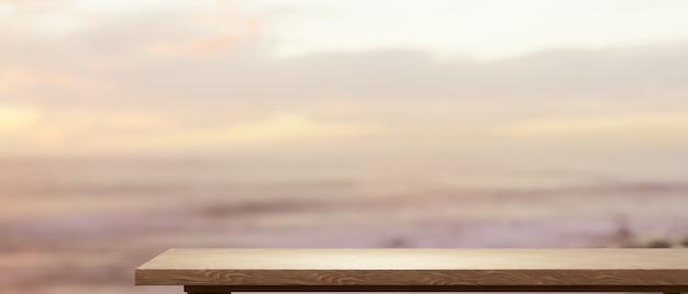 Пустая деревянная столешница для монтажа вашего продукта над красивым видом на небо на заднем плане 3d