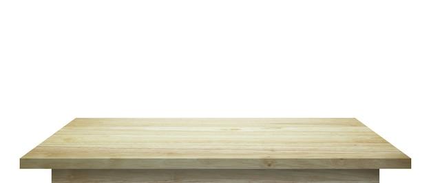 제품 디스플레이 몽타주 흰색 배경에 고립 된 빈 나무 테이블 상단