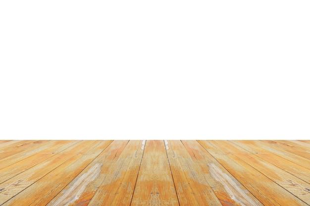 製品表示モンタージュの白い背景で隔離空の木製テーブルトップ
