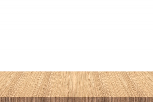 Empty wooden table top isolated on white background - can be used for display or montage your products.