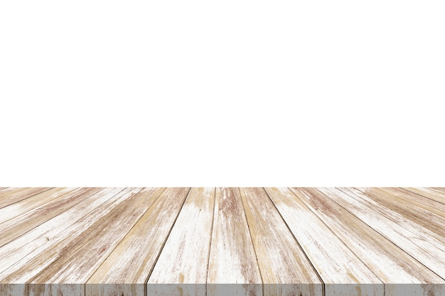 Empty wooden table top isolated on white background for product display montage
