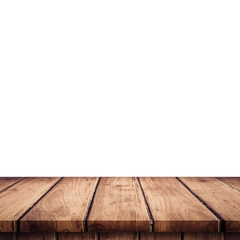 Empty wooden table top on isolated white, Template mock up for display of product.