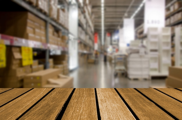 Empty wooden table warehouse