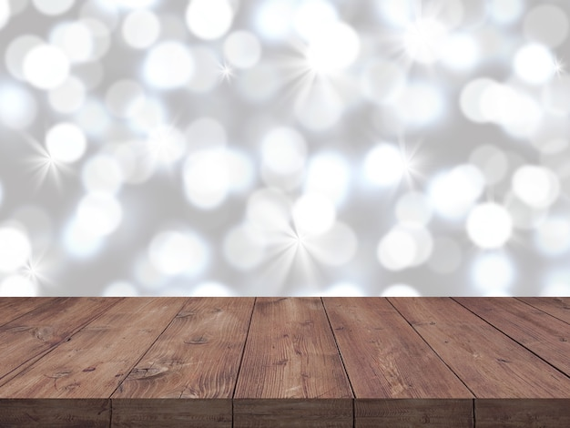 Empty wooden table with blurry white bokeh background