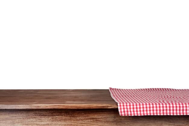 냅킨과 흰색 배경으로 빈 나무 테이블