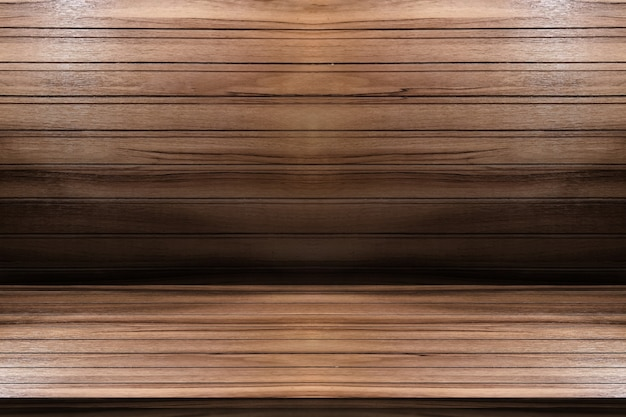 Empty wooden table with wood background, template mock up for display of product.
