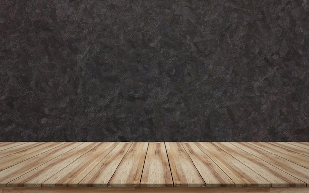 Empty wooden tabletop with black rough background texture for products display